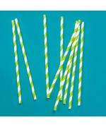 Трубочки кокт. 0,6*19,7 см. 25 шт/уп. бумажные, белые с зеленой полосой /1/40/ N