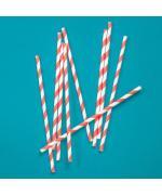 Трубочки кокт. 0,6*19,7 см. 25 шт/уп. бумажные, белые с красной полосой /1/40/ N
